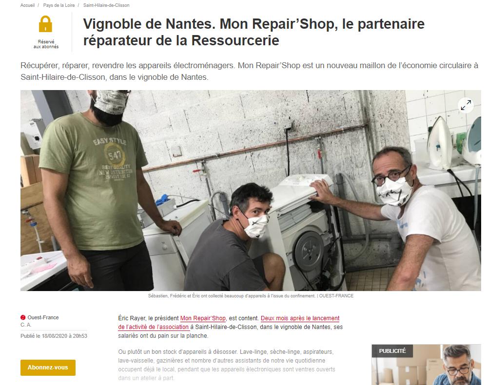 Vignoble de Nantes. Mon Repair'Shop, le partenaire réparateur de la Ressourcerie Récupérer, réparer, revendre les appareils électroménagers. Mon Repair'Shop est un nouveau maillon de l'économie circulaire à Saint-Hilaire-de-Clisson, dans le vignoble de Nantes.